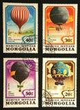 Vier kleurenballons op zegels van Molgolia Royalty-vrije Stock Foto