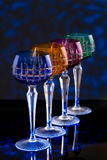 Vier kleurenglazen op een barteller Royalty-vrije Stock Foto