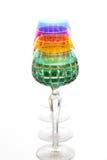 Vier kleurenglazen op een barteller Royalty-vrije Stock Fotografie