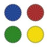 Vier kleurenstickers Stock Foto's