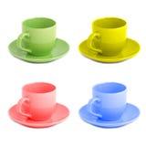 Vier kleurentheekopjes royalty-vrije stock foto's