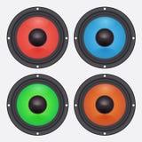 Vier kleurrijke audiosprekers Autotoebehoren Stock Fotografie