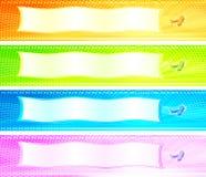 Vier kleurrijke banners met retro vliegtuigen Stock Fotografie