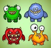 Reeks van vier grappige monstersvariatie 1 Stock Foto