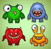 Reeks van vier grappige monstersvariatie 3 Stock Fotografie