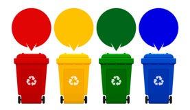 Vier kleurrijke kringloopbakken die op witte achtergrond, bak en toespraak worden geïsoleerd borrelt voor exemplaar ruimtemalplaa royalty-vrije illustratie