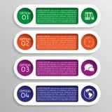 Vier kleurrijke opties van infographics met toestellen Stock Foto's