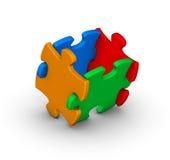 Vier kleurrijke puzzelstukken Stock Afbeeldingen