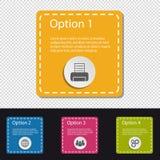 Vier Kleurrijke Vierkante Infographic-Bedrijfsknopen - Printer, Wereld, Mensen, Toestellen - VectordieIllustratie - op Transparan stock illustratie