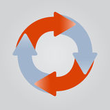 Vier kleverige pijlen in cirkel. royalty-vrije illustratie