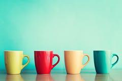Vier koffiekoppen Royalty-vrije Stock Afbeelding
