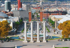 Vier kolommen in Bacelona, Spanje Stock Afbeelding