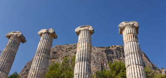 Vier kolommen in tempel Athena Royalty-vrije Stock Foto