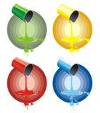 Vier Koppen van gekleurde verf Stock Foto's