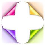 Vier kräuselten die grünen, gelben, rosa und purpurroten Ecken Stockfotos