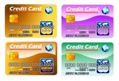 Vier Kreditkarten mit Chip. völlig editable vektor abbildung