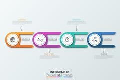 Vier Kreiselemente mit zwei Endstücken und dünner Linie Piktogramme nach innen 4 Links Versorgungskette Realistisches infographic Stockfoto