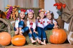 Vier lächelnde Mädchenzwillingsschwestern in den ukrainischen Kränzen, die auf Heuschobern sitzen Herbstdekor, Ernte mit Kürbisen stockfotos