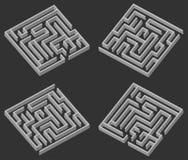 Vier Labyrinth 3d Stockfotos