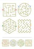Vier Labyrinthspiele mit Antworten Lizenzfreies Stockfoto