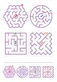Vier labyrintspelen met antwoorden Stock Fotografie