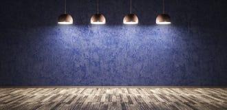 Vier lampen over het blauwe concrete muur 3d teruggeven stock illustratie