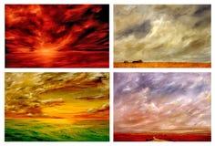Vier landschappen Stock Afbeelding