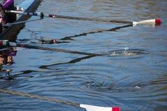 Vier lange rote und weiße Ruder, die im blauen Wasser spritzen Lizenzfreies Stockfoto