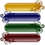 Vier langwerpige glanzende knopen met ornament Royalty-vrije Stock Afbeeldingen
