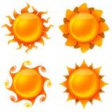 Vier lebhafte Bilder der Sonne Stockfoto