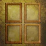 Vier lege frames op uitstekend behang Stock Afbeeldingen