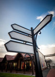 Vier lege straattekens op kruising Stock Foto