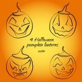 Vier leuke pompoenlantaarns in vector voor Halloween royalty-vrije illustratie