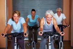 Vier Leute in den Eignungfahrrädern Lizenzfreies Stockbild
