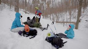 Vier Leute stehen während des Wintertrekkings im Wald still, liegen auf Schnee und überprüfen Rucksäcke stock video