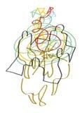 Vier Leute teilen - Brainstorming mit Stockbild