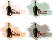 Vier Lieder mit einer Flasche Wein. Lizenzfreie Stockfotos