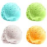 Vier lokalisierte Schaufeln Eiscreme Lizenzfreies Stockfoto