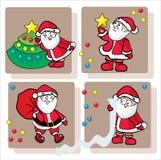 Vier lustiger Weihnachtsmann Stockbilder