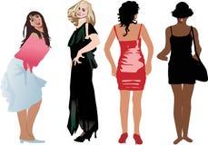 Vier Mädchen im unterschiedlichen Kleid stock abbildung