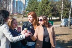 Vier Mädchen trinken Park des Champagners im Frühjahr, feiern starke Freundschaft lizenzfreies stockfoto