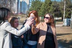 Vier Mädchen trinken Park des Champagners im Frühjahr, feiern starke Freundschaft stockbild