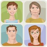 Vier männlich und weibliche Porträts Lizenzfreie Stockfotos