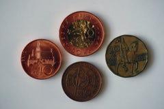 Vier Münzen von der Tschechischen Republik Stockfotografie