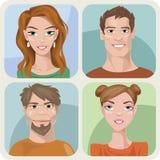 Vier mannelijke en vrouwelijke portretten Stock Illustratie