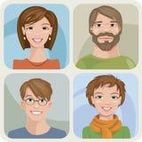 Vier mannelijke en vrouwelijke portretten Vector Illustratie