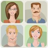 Vier mannelijke en vrouwelijke portretten Royalty-vrije Illustratie