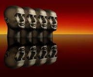 Vier Mannequinköpfe auf einer reflektierenden Oberfläche Stockfotografie