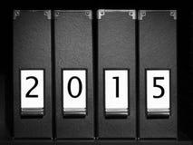 Vier Mappen mit 2015 Stellen Stockbild
