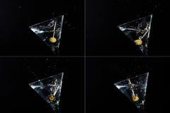 Vier martini-plonsen Stock Afbeeldingen